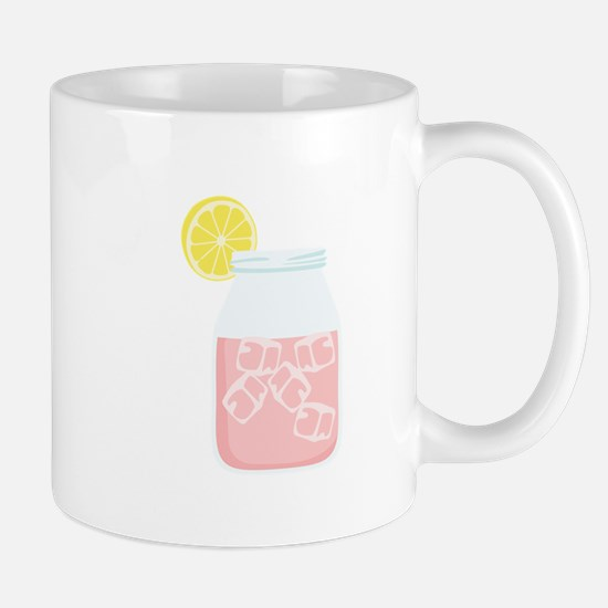 Glass Mason Jar Pink Lemonade Beverage Drink Mugs