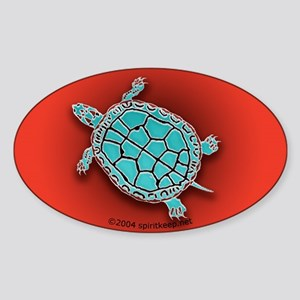Turtle in Turquoise Oval Sticker