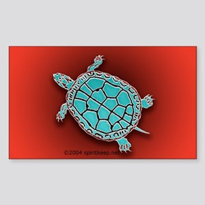 Turtle in Turquoise Sticker (Rect.)