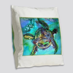 Sea Turtle, Wildlife art! Burlap Throw Pillow