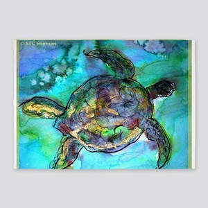 Sea Turtle, Wildlife art! 5'x7'Area Rug
