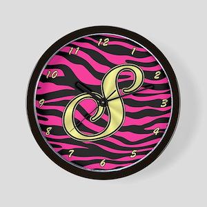HOT PINK ZEBRA GOLD S Wall Clock