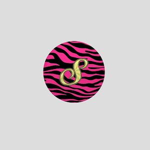 HOT PINK ZEBRA GOLD S Mini Button