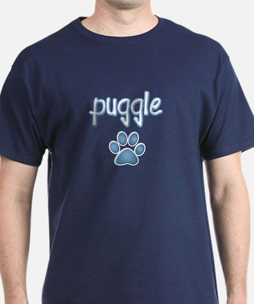 word Puggle with a paw print T-Shirt