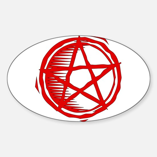 Red Pentagram Oval Decal