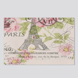 pink floral elegant paris Eiffel tower art Postcar