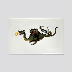 Steampunk Cat Riding A Dragon Rectangle Magnet