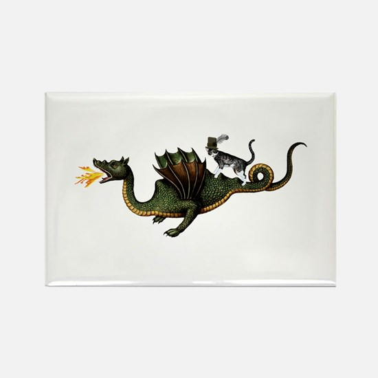 Steampunk Cat Riding A Rectangle Magnet (10 pack)
