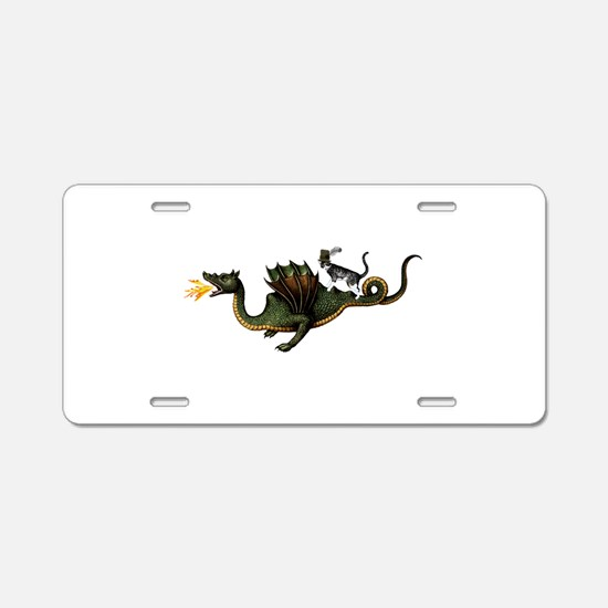 Steampunk Cat Riding A Drag Aluminum License Plate