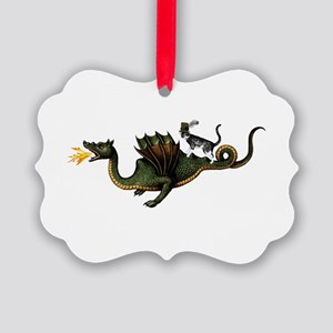Steampunk Cat Riding A Dragon Picture Ornament