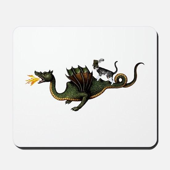 Steampunk Cat Riding A Dragon Mousepad