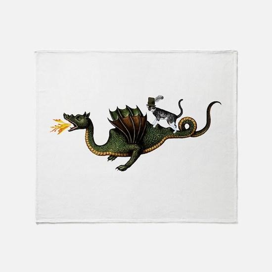 Steampunk Cat Riding A Dragon Throw Blanket