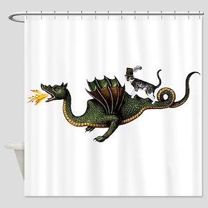 Steampunk Cat Riding A Dragon Shower Curtain