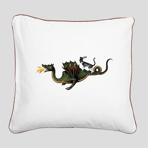 Steampunk Cat Riding A Dragon Square Canvas Pillow
