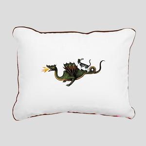 Steampunk Cat Riding A D Rectangular Canvas Pillow