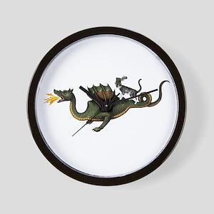 Steampunk Cat Riding A Dragon Wall Clock
