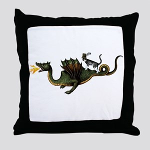 Steampunk Cat Riding A Dragon Throw Pillow
