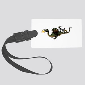 Steampunk Cat Riding A Dragon Large Luggage Tag