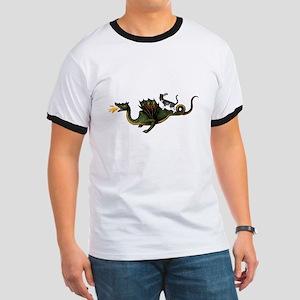 Steampunk Cat Riding A Dragon Ringer T