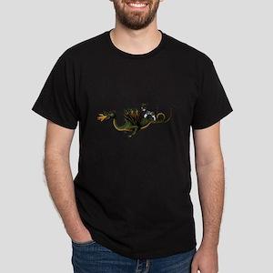 Steampunk Cat Riding A Dragon Dark T-Shirt