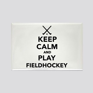 Keep calm and play Field Hockey Rectangle Magnet