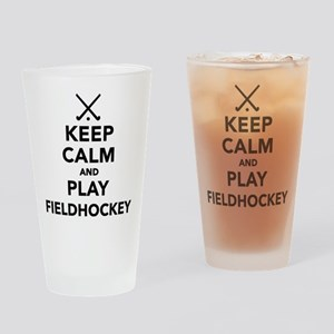 Keep calm and play Field Hockey Drinking Glass