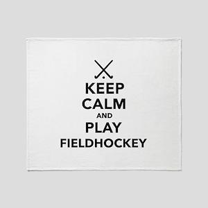 Keep calm and play Field Hockey Throw Blanket