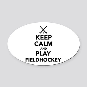 Keep calm and play Field Hockey Oval Car Magnet