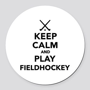 Keep calm and play Field Hockey Round Car Magnet