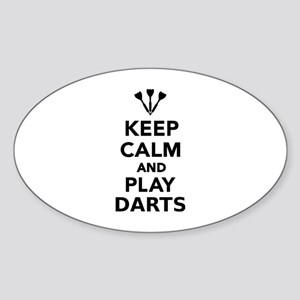 Keep calm and play Darts Sticker (Oval)