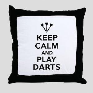 Keep calm and play Darts Throw Pillow
