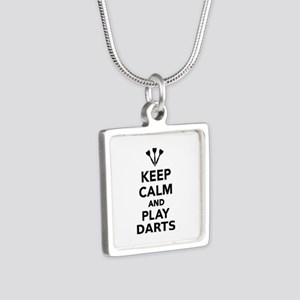 Keep calm and play Darts Silver Square Necklace