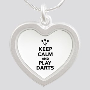 Keep calm and play Darts Silver Heart Necklace