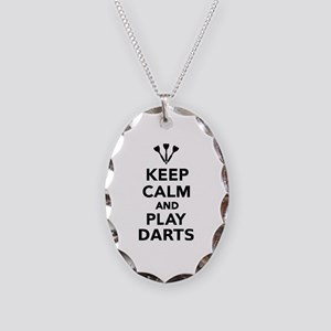 Keep calm and play Darts Necklace Oval Charm