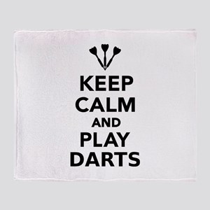 Keep calm and play Darts Throw Blanket
