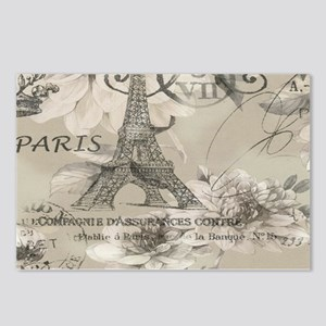cream floral elegant paris Eiffel tower art Postca