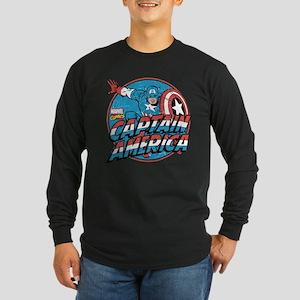 Captain America Vintage Long Sleeve Dark T-Shirt