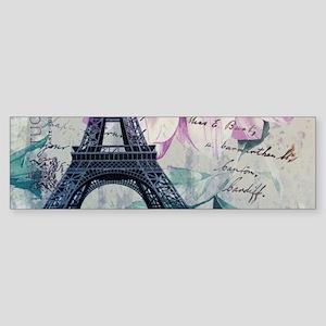 floral paris eiffel tower art Bumper Sticker