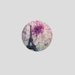 floral paris eiffel tower art Mini Button