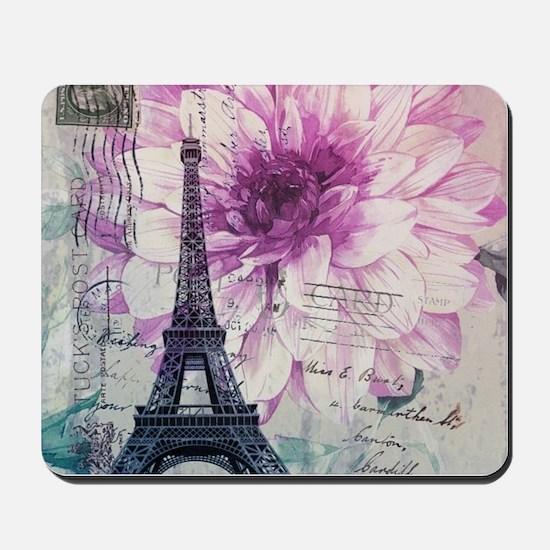 floral paris eiffel tower art Mousepad