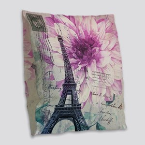 floral paris eiffel tower art Burlap Throw Pillow