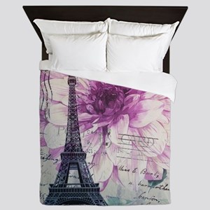 floral paris eiffel tower art Queen Duvet