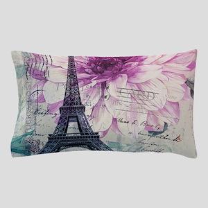 floral paris eiffel tower art Pillow Case