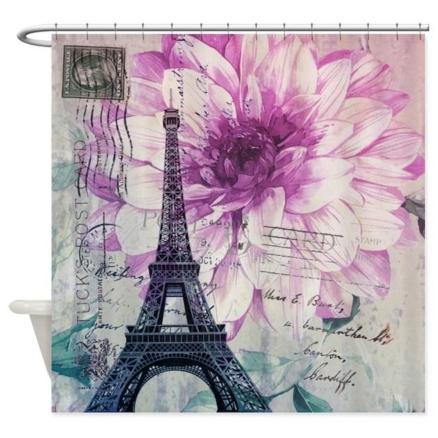 Floral Paris Eiffel Tower Art Shower Curtain By ADMIN CP62325139