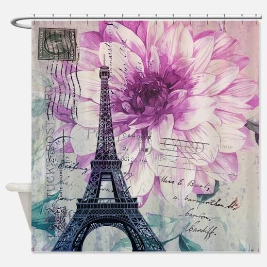 floral paris eiffel tower art Shower Curtain