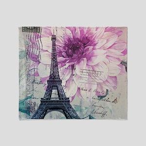floral paris eiffel tower art Throw Blanket