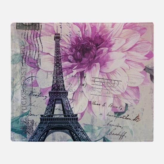 floral paris eiffel tower art Throw Blanket