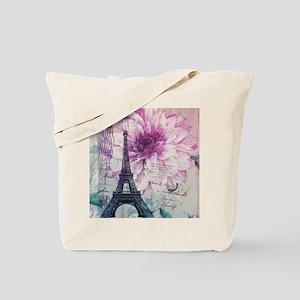 floral paris eiffel tower art Tote Bag