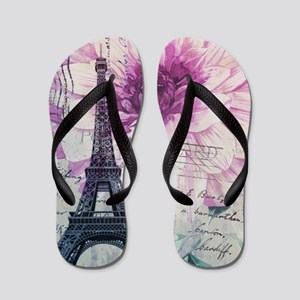 34c95b55f4602 floral paris eiffel tower art Flip Flops