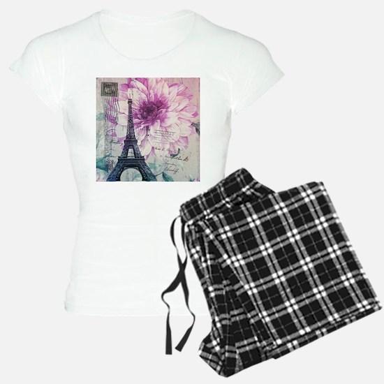 floral paris eiffel tower art pajamas